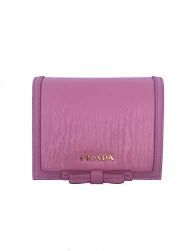 Prada Vitello Move Leather Pink Bifold Bow Coin Purse Wallet 1MV204 (Pink)