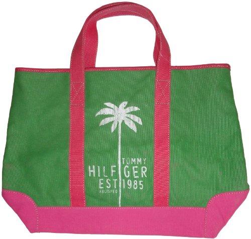 Women's Tommy Hilfiger Purse Handbag Beach Tote Green/Pink