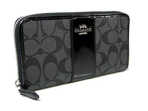 New Coach C Signature Large Accordion Wallet Purse Hand Bag Black Gray Patent Leather Stripe