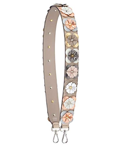 Fendi Shoulder Strap Flowers Calf Leather Cloud Dove Multicolor Metallic 8AV077