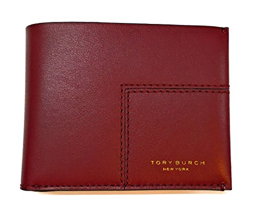 Tory Burch Block-T Travel Foldable Card Case Imperial Garnet