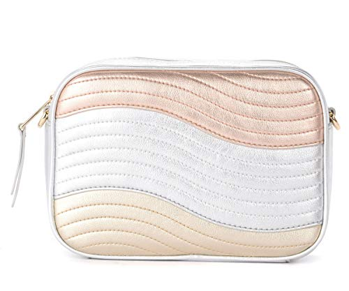 Furla Furla Swing Bandolier Bag In Gold, Silver And Powder Laminated Leather Silver