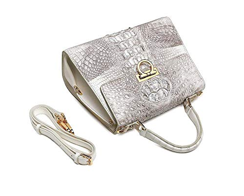 EEKUY Crocodile Leather Handbag, Alligator Tote Bag Luxury Handbag Shoulder Messenger Bag 10.8×8.1×5.4 Inch, Himalayan White