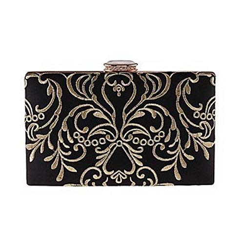 YX Women Bags Polyester Evening Bag Embroidery for Wedding Event/Party All Season Black,A,One Size
