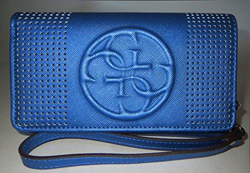 Guess Korry Logo Wristlet Wallet Zip Around Blue