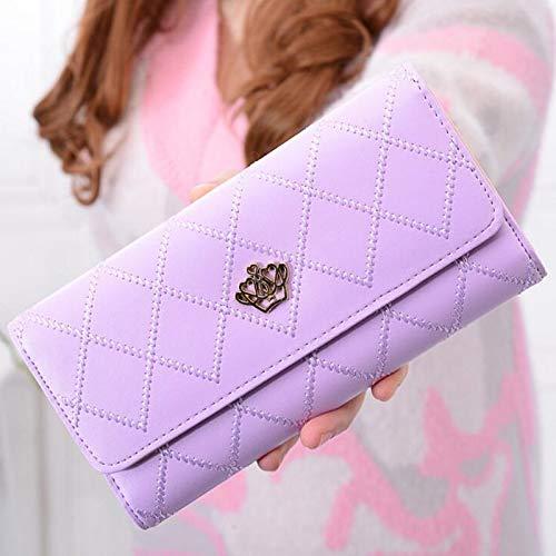 Xennos Wallets – 100pcs/lot New Fashion Women Crown Plaid Long Double Zip Clutch Leather Wallet Purse Coin Card Bag
