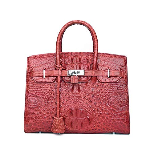 YBQ Fashion Ms. Handbag Leather Handbag New Large-Capacity Solid Platinum Interlocking Handbag 34×11.5x24cm Pretty