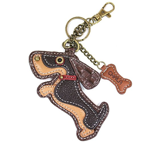 Chala Playful Puppy Dog Key Chain Purse Leather Bag Fob Charm New