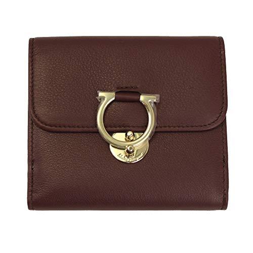Salvatore Ferragamo Gancini Red Leather Bifold Wallet 22D183 Wine