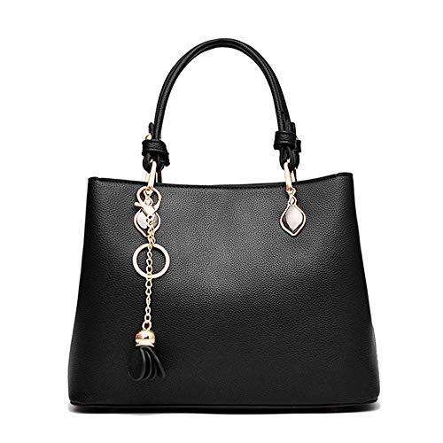 Nuanxingjiafang Handbag – Polyester Wear-Resistant Cowhide Bag, Large Capacity Metal Bucket Bag, Ladies' Multi-Purpose Handbag Black Fashion