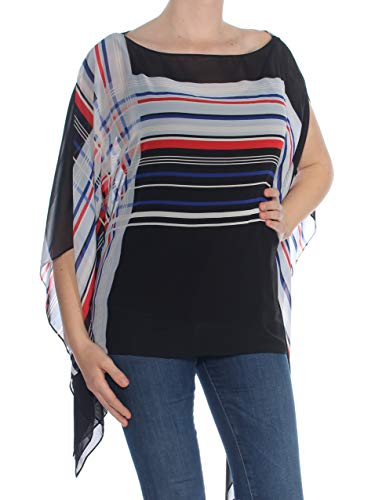 Vince Camuto $99 Womens New 1216 Red Striped Boat Neck Poncho Casual Top M B+B