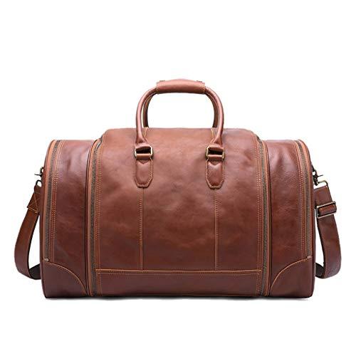 XNBAO Travel Bag Large Capacity Luggage Bag Vintage Genuine Leather Portable Handbag Travel Shoulder Tote Bag Carry On Bag for Men and Women (Color : Brown, Size : One Size)