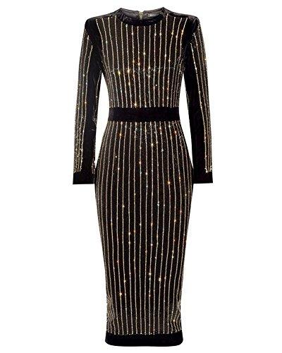 whoinshop Women's Long Sleeve Crystal Diamond Midi Cocktail Dress Black L