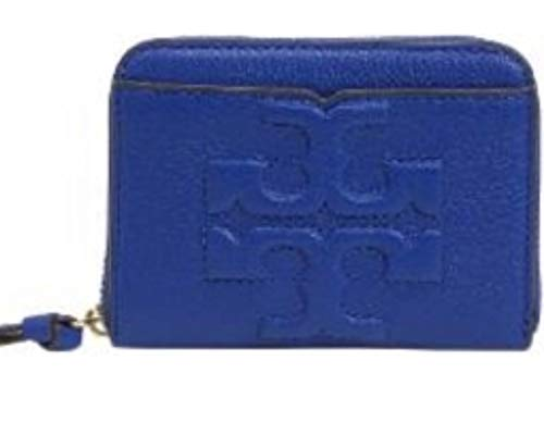 TORY BURCH Bombe T Leather Zip Coin Case Wallet Blue