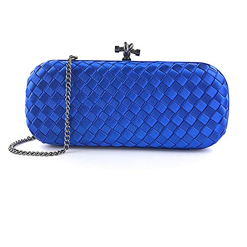 ZXK Woven Blue Silk Dress Party Clutch Handbags Woven Shoulder Bag Messenger Bag Evening Bag 23CM 5CM 9CM Fashion