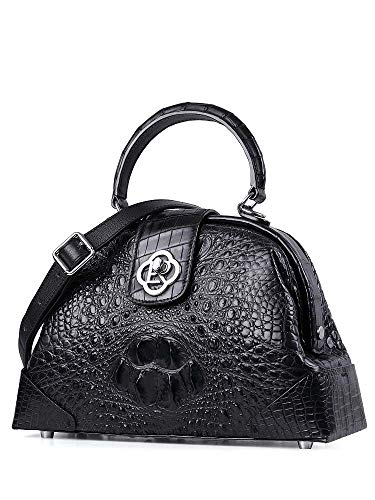 EEKUY Fashion Handbag, Ladies Crocodile Black Handbag Shoulder Messenger Bag Large-Capacity Alligator Bag 11×7.1×3.34 Inch
