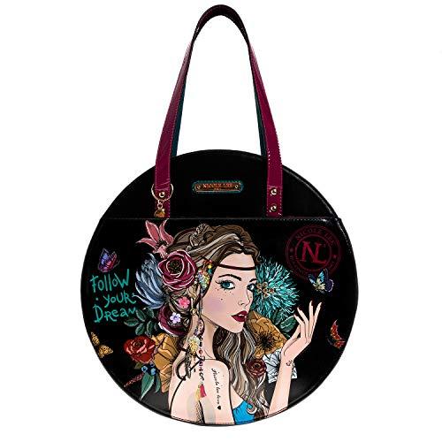 Nicole Lee Top Handle Bohemian Print Circle Shoulder Handbag Shoulder Bag, angelina Follows Dream