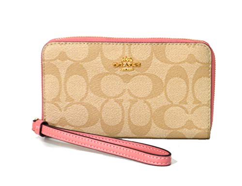 Coach F57468 Signature PVC leather Phone Wallet in Khaki/Vintage Pink