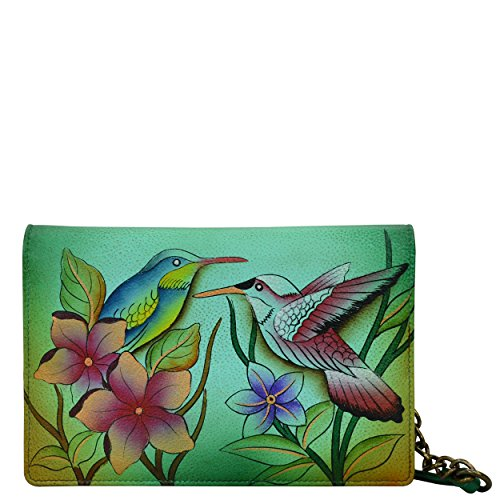 Anna by Anuschka Hand Painted Leather Two Fold Wallet On a String | Birds in Paradise