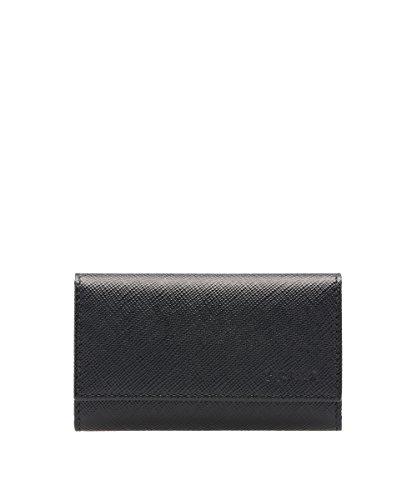 Prada Saffiano Leather Key Holder Wallet, Black (Nero)