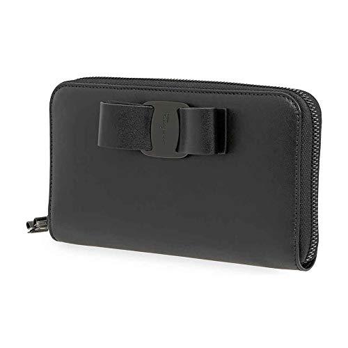 Ferragamo Vara Leather Long Wallet Black 22D267 691260
