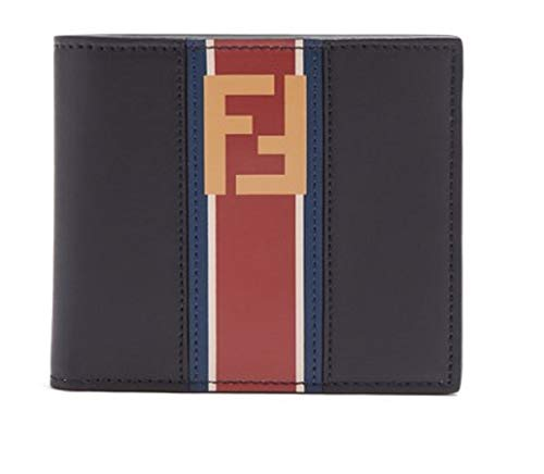 Fendi Billfold Leather Two Toned Black and Beige Wallet with Red Stripe and Forever Fendi Logo 7M0169