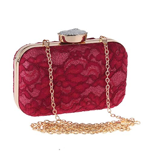 Xihouxian Lace Clutch, Wallet, Evening Bag, Fashion Handbag, Fashion Bag, (Color: Red) Bright Shape You Deserve to Have