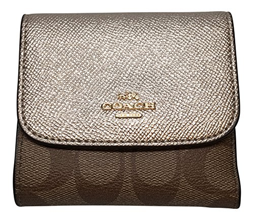 Coach Signature PVC Small Wallet Khaki Platinum F87589