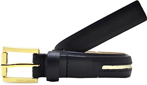 Vince Camuto Center Stripe Leather Belt Black X-large