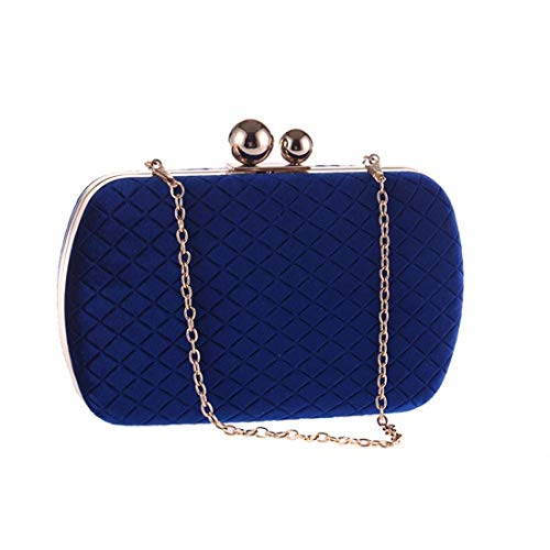 Qingbaotong Ladies Handbag, Clutch Bag Coin Purse, Flannel Rhinestone Ring Evening Clutch Bag, Blue, 19 12 4.5 cm