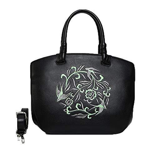 FFYUYI Chinese Style Embroidered Handbag, Ladies Large-Capacity Leather Shoulder Bag