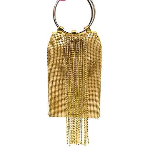 Xihouxian Dazzling Golden Crystal Tassel Ladies Aluminum Evening Wallet, Cocktail Party Bag, Handbag Casual Wild You Deserve to Have