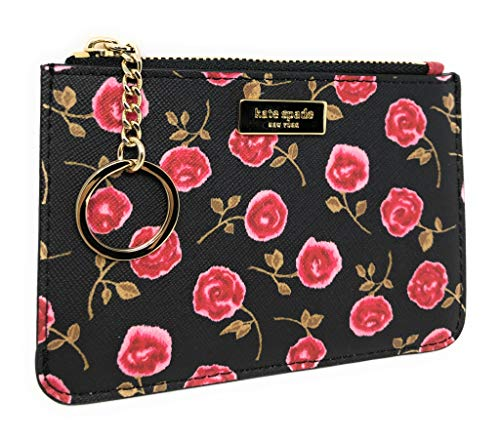 Kate Spade New York Bitsy Rose Red Leather Card Case Key Chain Ring Wallet