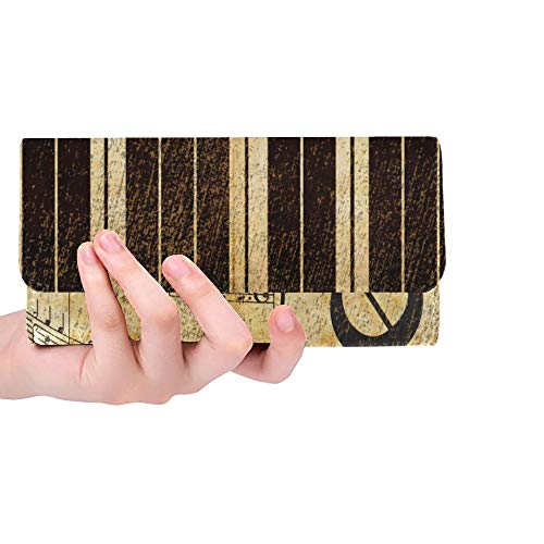 Unique Custom Vintage Music Note And Piano Keys Women Trifold Wallet Long Purse Credit Card Holder Case Handbag