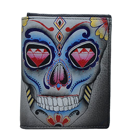 Anuschka Hand Painted Leather RFID Blocking Three Fold Men's wallet (Calaveras de Azúcar 3004 CDA)