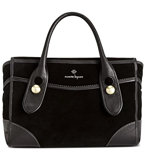 Nanette Lepore Womens Waverly Genuine suede Satchel Handbag Black Large