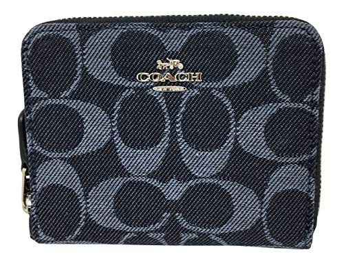 Coach Denim Signature Jacquard Small Zip Around Wallet Denim F67586