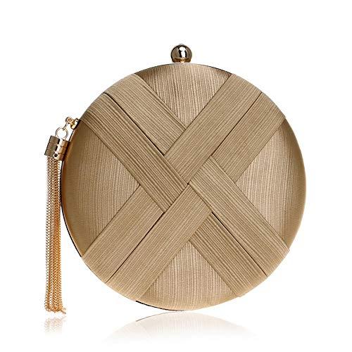 Nuanxingjiafang Bag – Imitation Silk/Metal/European and American Style Travel Handbag, Ladies Messenger Bag/Evening Party Bag, Gold, Hard/Wearable (18×5.5x18cm) Fashion