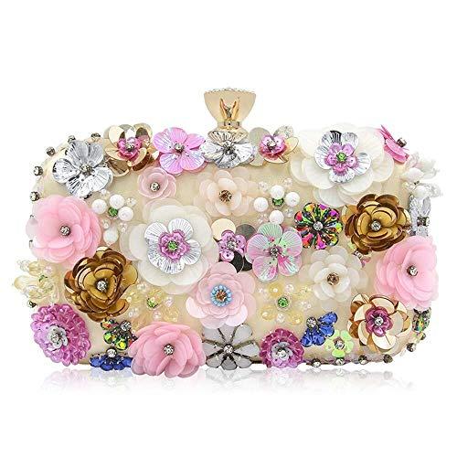 Xihouxian High-Grade Pearl Evening Bag, Color Flower Beaded Handbag, Handbag, Wedding Bag, Classic Elegance You Deserve to Have