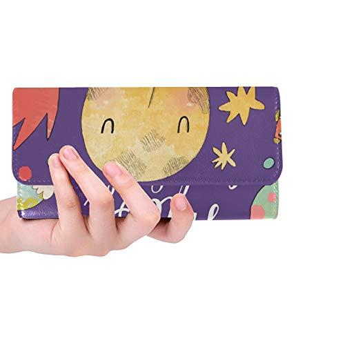 Unique Custom I Love You To The Moon And Back Women Trifold Wallet Long Purse Credit Card Holder Case Handbag