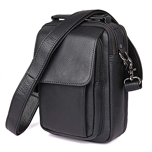Ybriefbag Men's Shoulder Bag Men's Chest Bag Leather Shoulder Bags Simple Casual Shoulder Bags Genuine Leather Crossbody Purse Ba (Color : Black, Size : M)