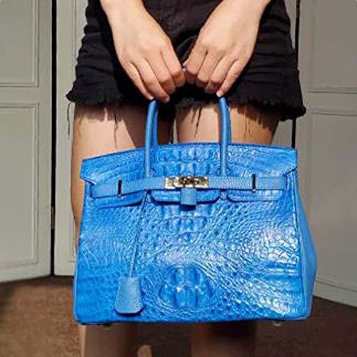 BuyBuyBuy European and American Style Crocodile Skin Handbag Messenger Shoulder Blue (30 14 23cm) Storage Tool