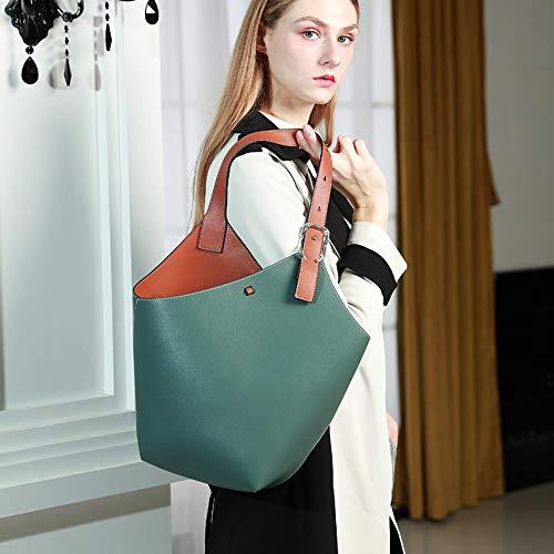 Nuanxingjiafang Handbags-European and American Fashion Simple Leather Handbags, Ladies Shoulder Bags, Messenger Bags, Large-Capacity Leather Bags, Green, 20 17 24cm Fashion