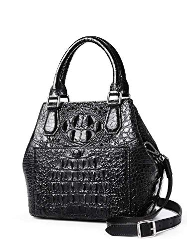 EEKUY Women Genuine Leather Handbags, Handle Bags Crocodile Purse and Handbags Shoulder Bag Messenger Bag Perfect Lady Gift 9.1×8.7×5.5 Inch