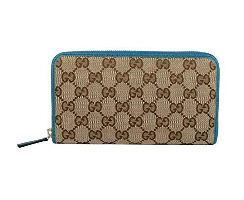 Gucci Women's Beige Original GG Canvas With Leather Trim Zip Around Wallet 363423 8616