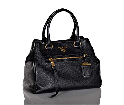 Prada 1BG044 Women's Vitello Phenix Leather Convertible Bag Black
