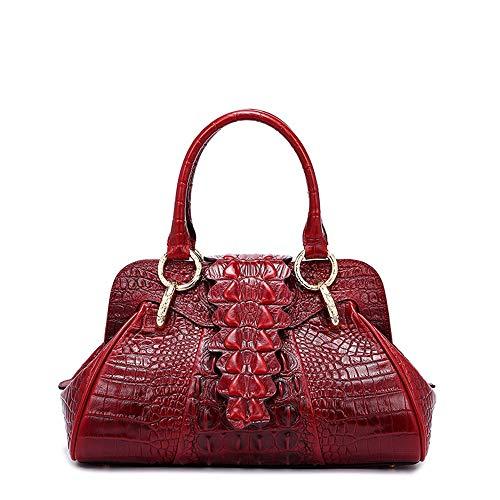 Nuanxingjiafang Handbags – European and American Crocodile Fashion Handbags, Shoulder Bag Messenger Bag, Cowhide, Red, 341622 cm Fashion