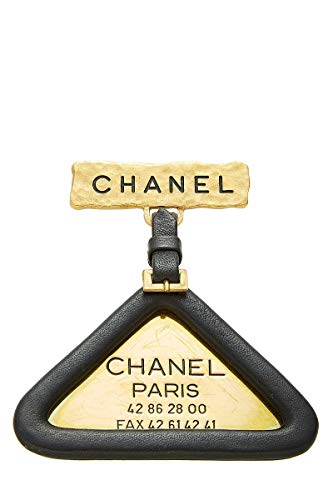CHANEL Black Leather Gold Pin (Pre-Owned)