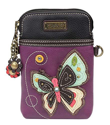 Chala Purple Butterfly Cellphone Crossbody Handbag – Convertible Strap