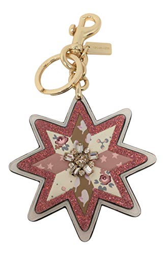 Coach Mixed Patchwork Star Bag Charm Key Chain Chalk Gold F40702
